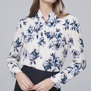 White House Black Market WHBM Floral Blouse Sz 8